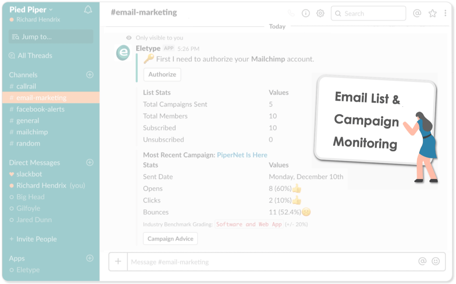 Monitor your Mailchimp campaign in Slack